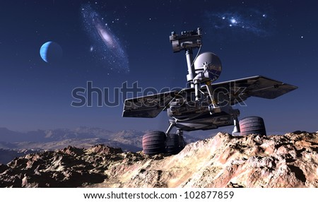 Space transport on the background of the planet. - stock photo