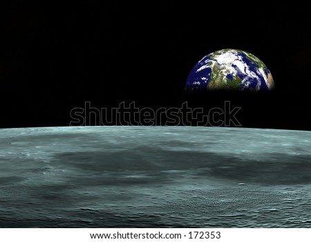 Space travel, Earth at the horizon - stock photo