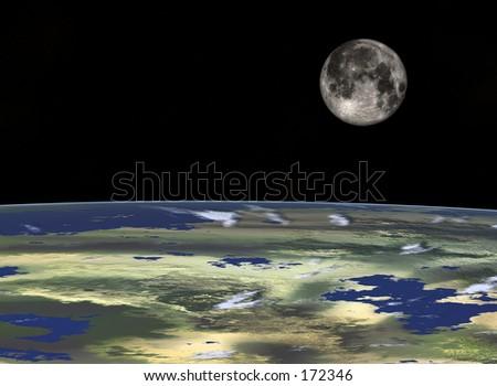 Space travel, Full Moon at the horizon - stock photo