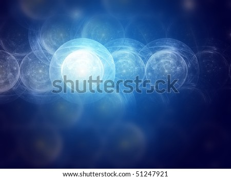 space tunnel, creative background design in blue - stock photo