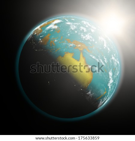Space view of the sun rising over Australia on planet Earth. Elements of this image furnished by NASA.