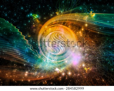 Space Vortex series. Abstract composition of translucent vortex, fractal elements, lights and textures suitable as element in projects related to science, technology and design - stock photo