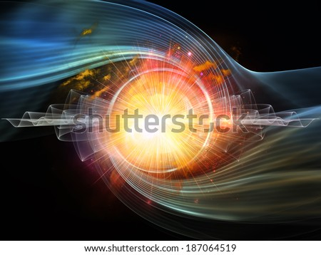 Space Vortex series. Artistic background made of translucent vortex, fractal elements, lights and textures for use with projects on science, technology and design - stock photo