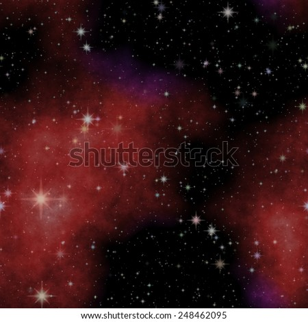 Space with star, galaxy and red nebula background