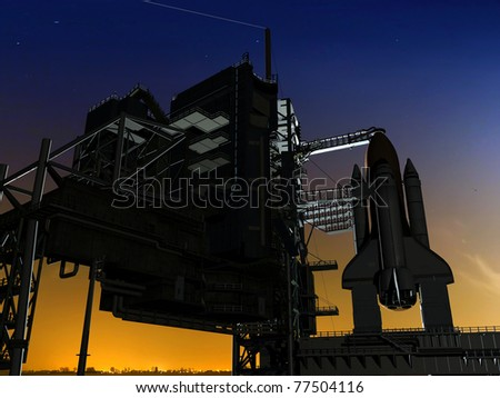 spacecraft against the sky - stock photo