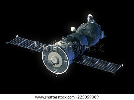 Spacecraft. 3D Model. - stock photo