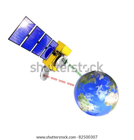 Spacecraft emitting and receiving data from the control station on earth - stock photo