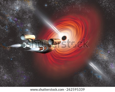 Spacecraft going into a black hole - stock photo