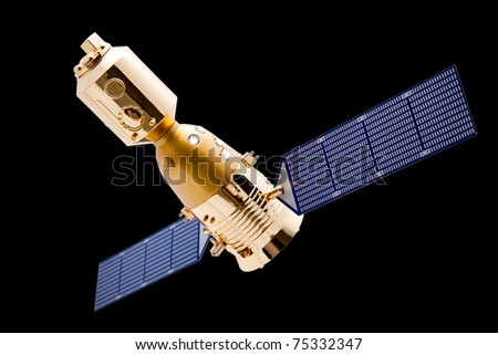 Spacecraft on black background with a good clipping path - stock photo