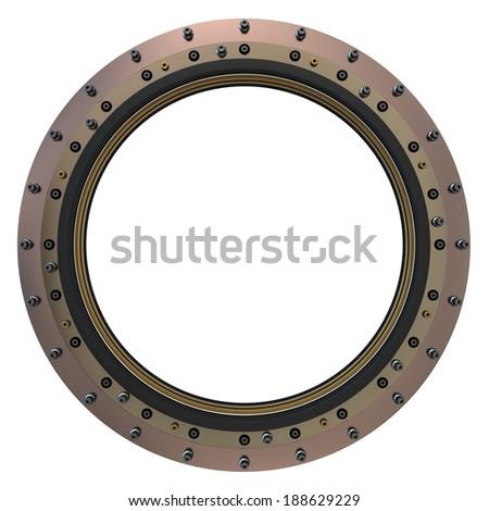 Spacecraft Porthole. 3D Model. - stock photo