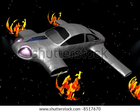 Spacecraft. This is a 3D rendered picture. - stock photo
