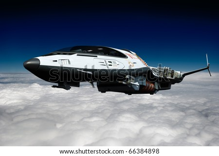 spaceship above the clouds