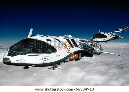 spaceship above the clouds the long line - stock photo