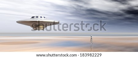 Spaceship and Alien in a Distant World Computer generated 3D illustration - stock photo