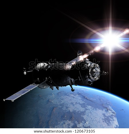 Spaceship at the Earth orbit 3d render - stock photo