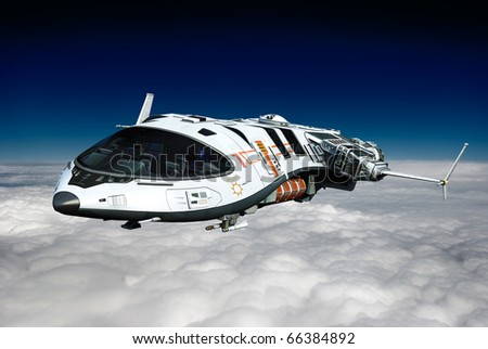 spaceship casual flight above the clouds