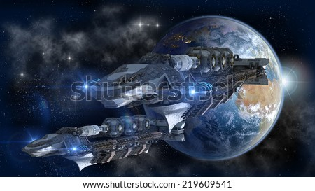 Spaceship fleet leaving Earth in a 3D concept for futuristic interstellar deep space travel for sci-fi backgrounds - stock photo