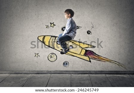 Spaceship flight  - stock photo