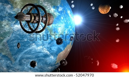 Spaceship flight through asteroids field between Earth and Venus, Sun system - stock photo