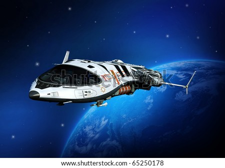 spaceship flying on - stock photo