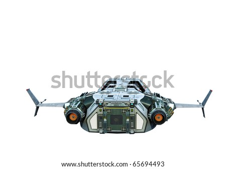 spaceship flying on white background