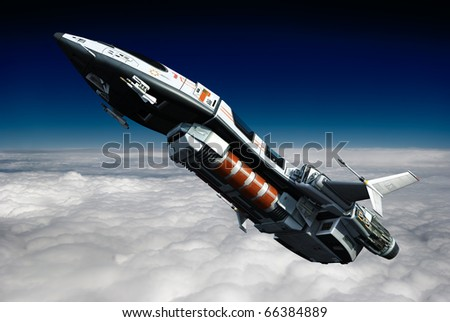 spaceship going above the clouds - stock photo