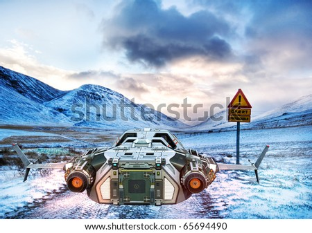 spaceship in ice land - stock photo