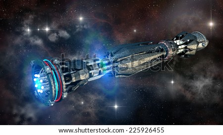 Spaceship in interstellar travel, on a galactic star field for alien fantasy games or science fiction deep space travel backgrounds  - stock photo