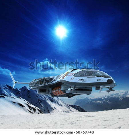 spaceship in snow planet - stock photo