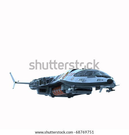 spaceship in snow planet white background - stock photo