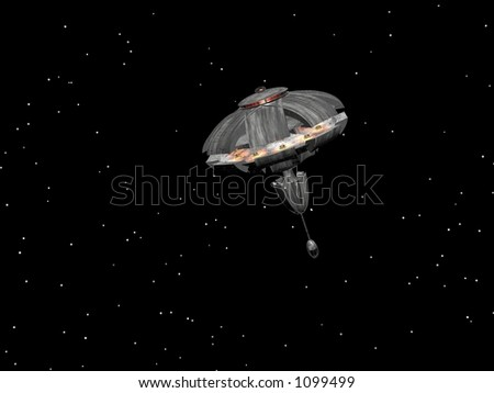 Spaceship in starry space