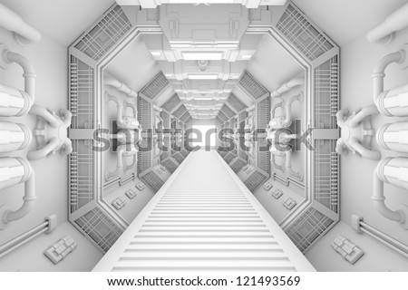 Spaceship interior center view with bright white texture - stock photo