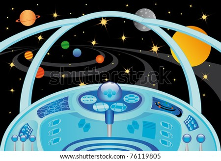 Spaceship interior in the universe, raster illustration - stock photo