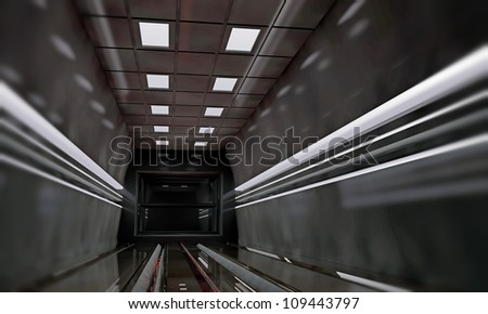 spaceship interior with metal panels and ceiling lights