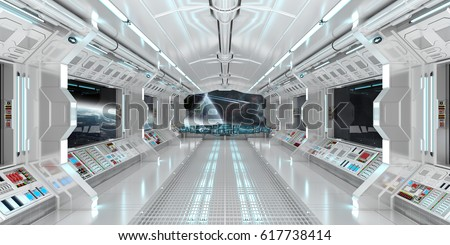 Marvelous Spaceship Interior With View On Space And Distant Planets System 3D  Rendering Elements Of This Image