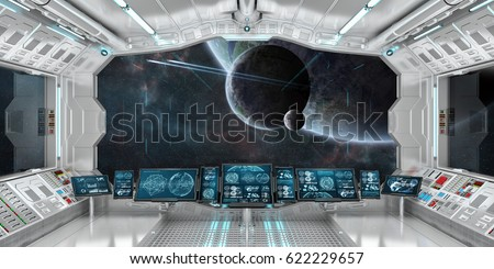 Great Spaceship Interior With View On Space And Distant Planets System 3D  Rendering Elements Of This Image