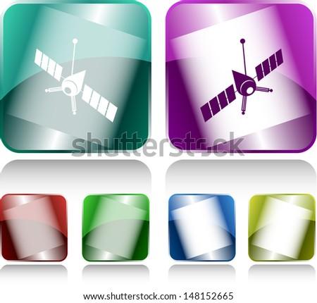 Spaceship. Internet buttons. Raster illustration. - stock photo