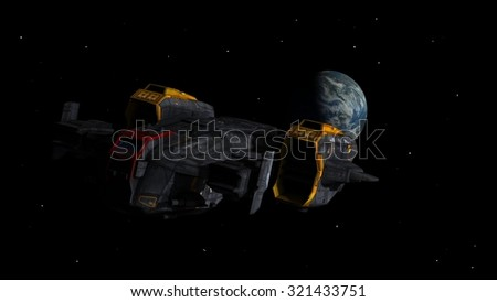 Spaceship leaving Earth as a 3D concept for futuristic interstellar deep space travel for science-fiction backgrounds.