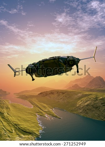 Spaceship on the background of the planet. - stock photo