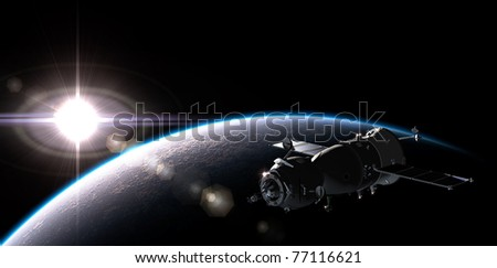 Spaceship on the orbit - stock photo