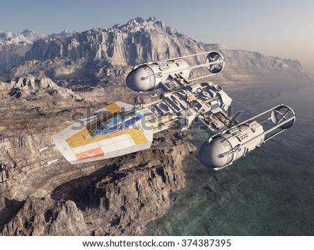 Spaceship over a landscape Computer generated 3D illustration - stock photo