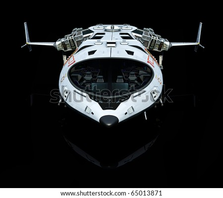 spaceship reflection front - stock photo