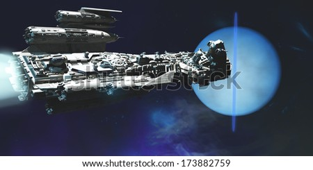 Spaceship to Neptune - A exploratory spaceship from Earth comes to investigate the planet of Neptune and its ring system.