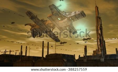 Spaceship UFO - stock photo