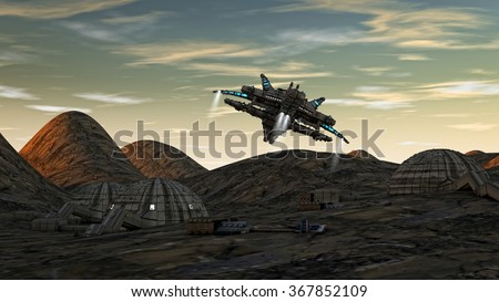 Spaceship UFO and planet - stock photo