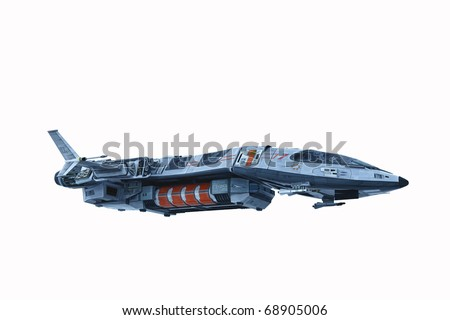 spaceship white background - stock photo