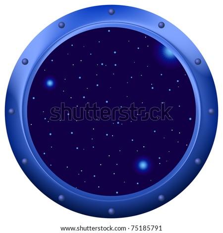 Spaceship window porthole with space, dark blue sky and stars - stock photo