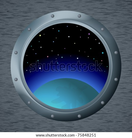 Spaceship window porthole with space, dark blue sky, planet and stars - stock photo