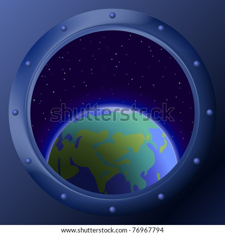 Spaceship window porthole with space: dark blue sky, planets mother Earth and stars - stock photo