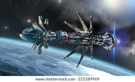 Spaceship with Warp Drive in the initiating state, arriving at a glacial planet, for alien fantasy games or science fiction backgrounds of interstellar deep space travel - stock photo